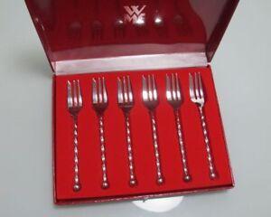6-Kuchengabeln-WMF-gedrehter-Griff-90er-Silberauflage