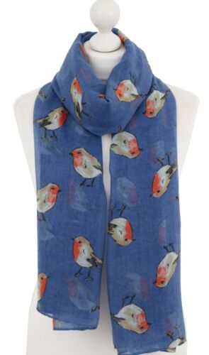 Soft Robin Scarf Garden Red Robins Bird Print Scarves Christmas Wrap Xmas Gifts