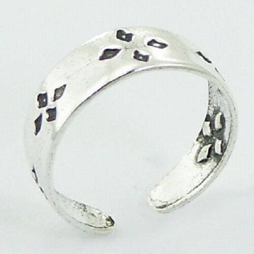 Toe ring 925 sterling silver antiqued diamond shape size adjustable 5mm wide
