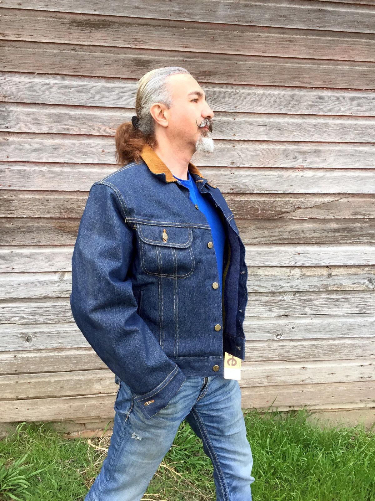 e1c25dd2 Vintage Mens LEE STORM RIDER Denim Jacket Blanket Lined USA Jean 42R NOS  Tags
