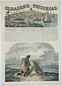 Bay Snipe Shooting on the Coast of Long Island 1854 About 11x15 Large Antique Engraving