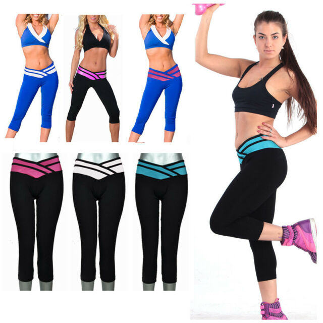 Sexy Women's Athletic Apparel Cropped Leggings Yoga Gym Stretch Pants S-XL