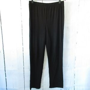 New-Attitudes-By-Renee-Pants-L-Large-Black-Bamboo-Moisture-Wicking-Pull-On-QVC
