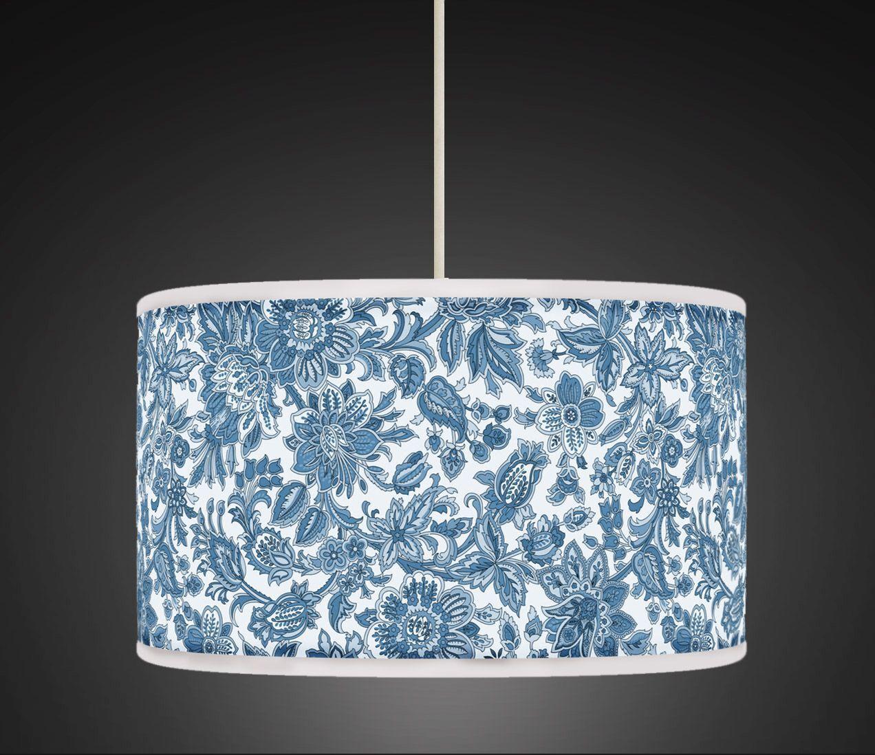 negozio d'offerta Fiore Floreale Blu Bianco Fatto a Mano Stampato Stampato Stampato Tessuto Paralume per lampada pendente 444  la migliore selezione di
