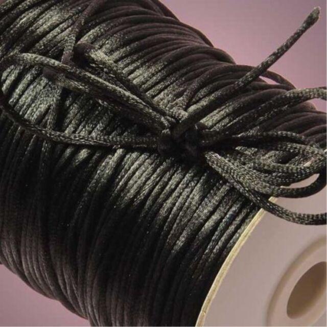 10yd black 2mm Satin Rattail Trim Macrame Beading Nylon DIY String Cord/7.38912