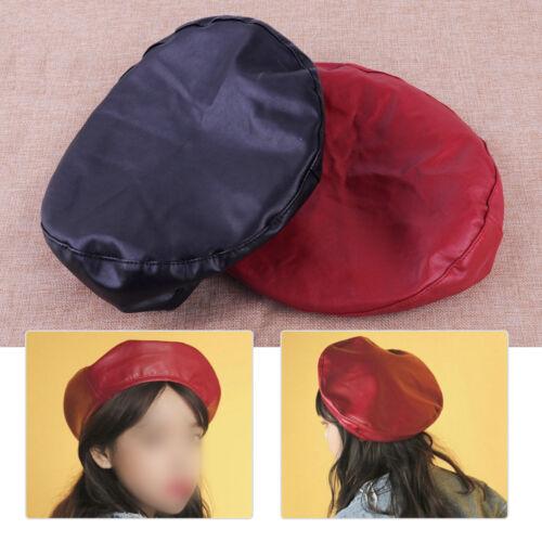 Weinrot Damen Beret Barett Kunstleder Damenmütze Baske Mütze Baskenmütze Hut Cap