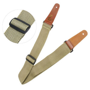 Adjustable-Polyester-Strap-Leather-End-Acoustic-Tweed-Electric-Bass-Guitar-Belt