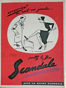 PUBLICITE-DE-PRESSE-1953-PORTEZ-DES-BAS-SCANDALE-ON-VOIR-VOS-JAMBES-ADVERTISING