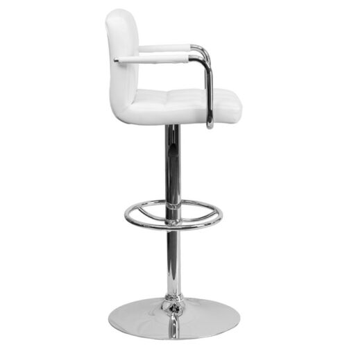 Contemporary White Quilted Vinyl Adjustable Height Bar Stool with Arms