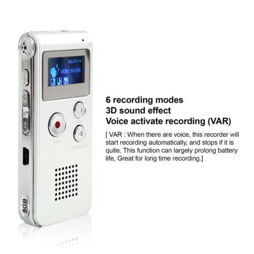 OLED Digital 8GB Diktiergerät Aufnahmegerät Voice USB Audio MP3 Recorder Musik