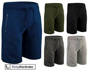 Mens-Gym-Shorts-Running-Joggers-Zip-Pockets-Jogging-Short-Cotton-Elasticated-HNL