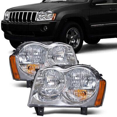 Headlights Chrome Halogen Pair Set Fits 2005-2007 Jeep Grand Cherokee