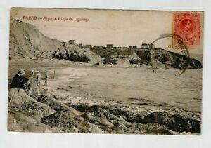 BILBAO-Algorta-Playa-de-Ugunaga-viaggiata-1916-tarjeta-cartolina-postale