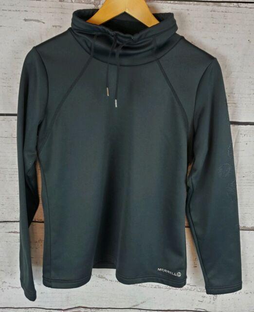 Merrell Womens Medium Pullover Fleece Lined Jacket Black Sweatshirt Hiking Wind