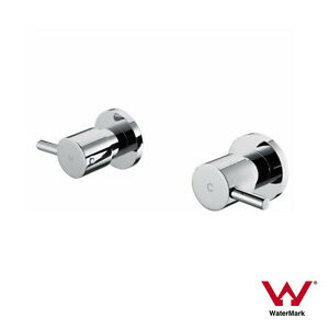 Round-CHROME-Lollipop-Lever-1-4-Turn-Hot-Cold-Twin-Tap-Set-Wall-Top-Assemblies