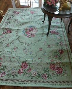 ein wundersch ner teppich rosen shabby vintage landhaus lindgr n ebay. Black Bedroom Furniture Sets. Home Design Ideas