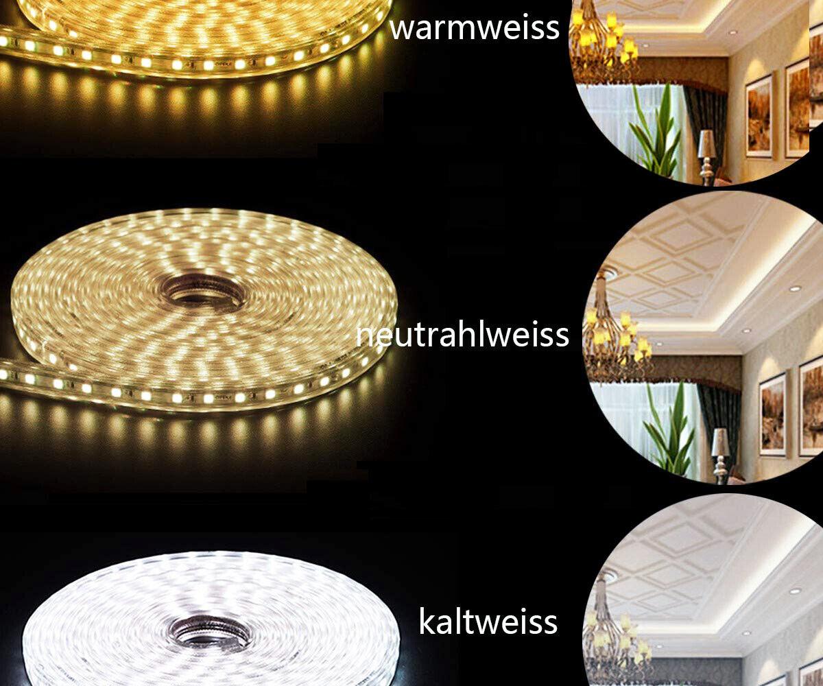 1-50m Led-Streifen Je meter 60 LEDs 230V led strip superhell wasserfest Dimmbar