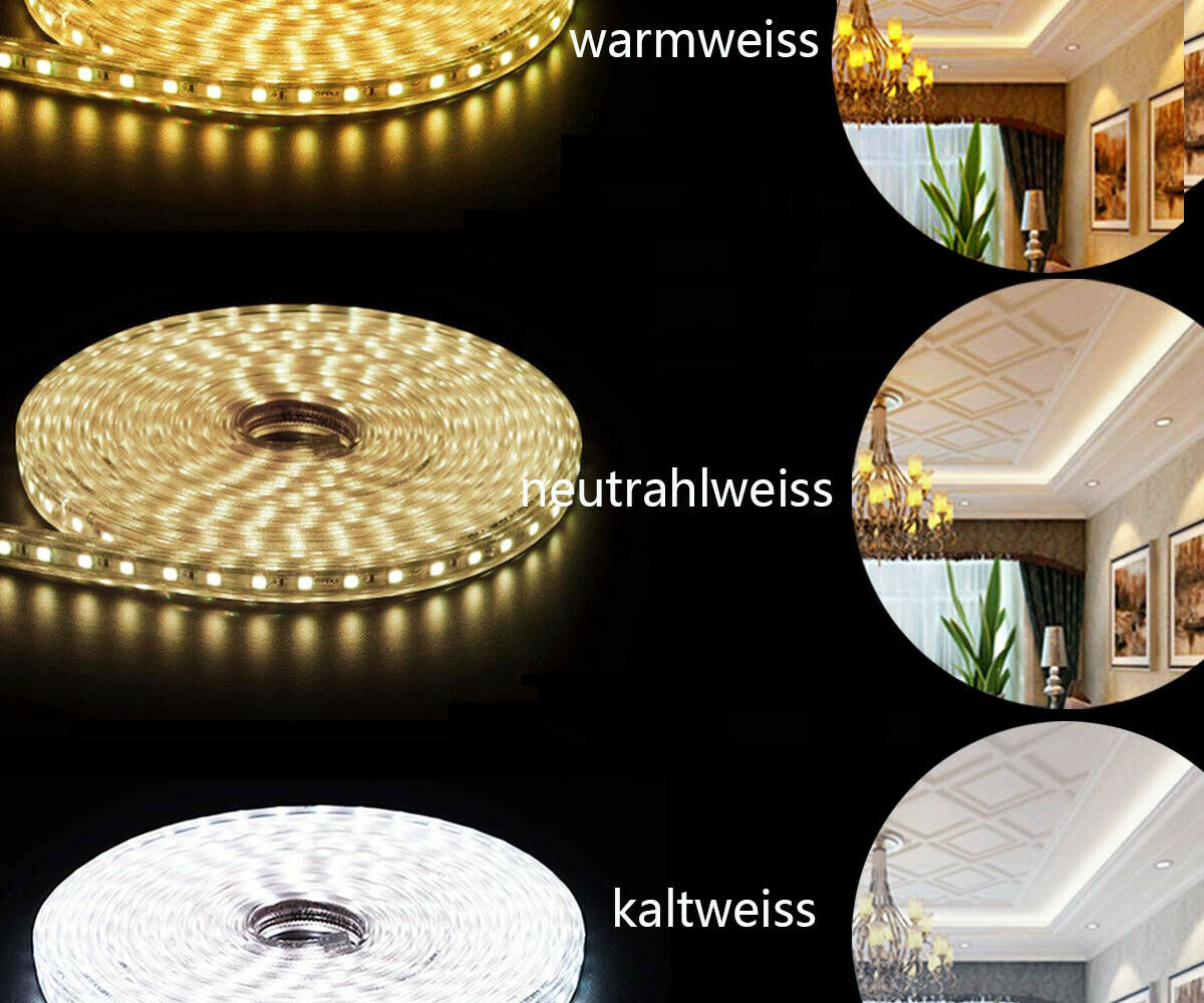 1-50m Led-Streifen Je meter 60 LEDs 230V led strip superhell wasserfest Dimmbar  | Outlet Store