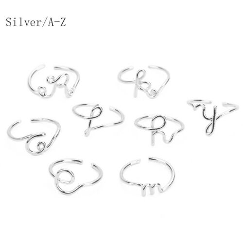 Simple 26 Letters Adjustable Open Ring Band Gold Silver Rose Gold 1PC Gifts