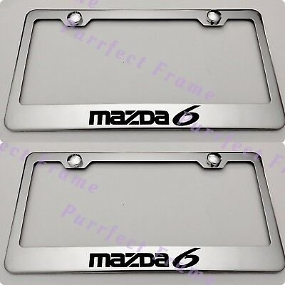 Mazda Speed Mazdaspeed Black Stainless Steel Rust Free License Plate Frame Caps