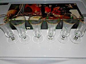 VINTAGE-IRISH-SHAMROCK-SHERRY-CORDIAL-SHOT-GLASSES-WITH-CLOVERS-SET-OF-6-IRELAND