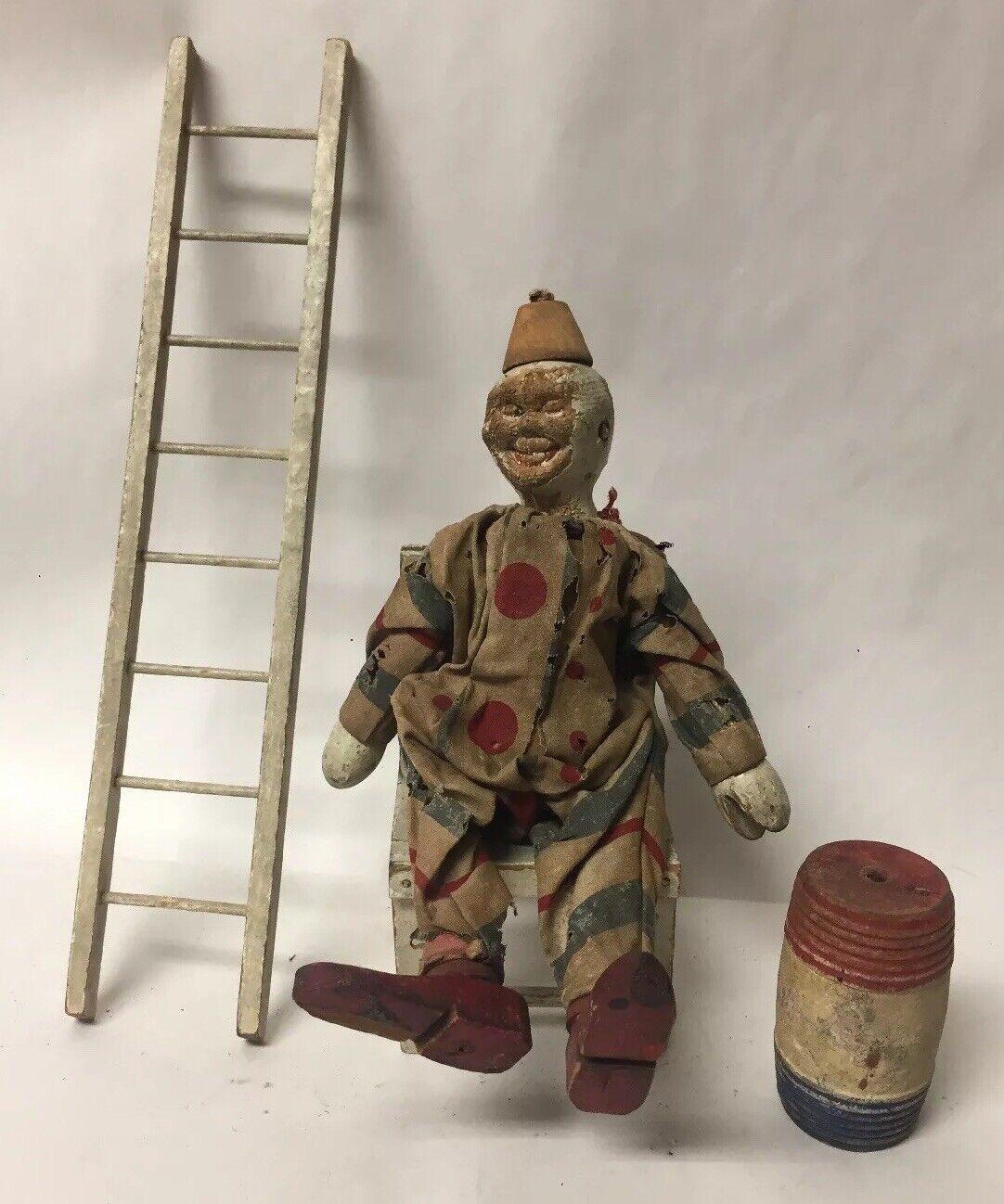 Antiguo Schoenhut Humpty Dumpty Circo Payaso escalera silla de barril