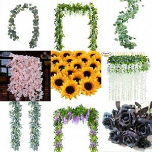 Artificial-Plants-Flower-Greenery-Garland-Vine-Faux-Silk-Vines-Leaf-Wreath-Bush