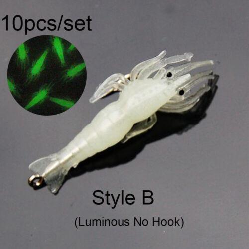 Luminous Biomimetic Hook Worm Silicone Prawn Lure Sea Fishing Shrimp Fake Bait