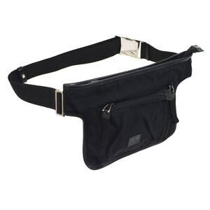 Authentic-GUCCI-Logos-Waist-Bum-Bag-Black-Nylon-Leather-Vintage-Italy-AK28988