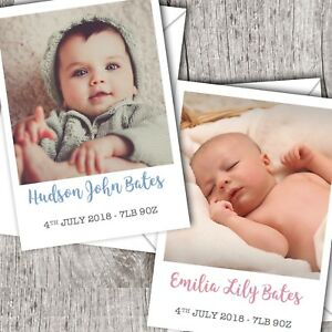 Baby Boy//Girl D63 Personalised PHOTO Thank You Cards ~ Announcement//Christening
