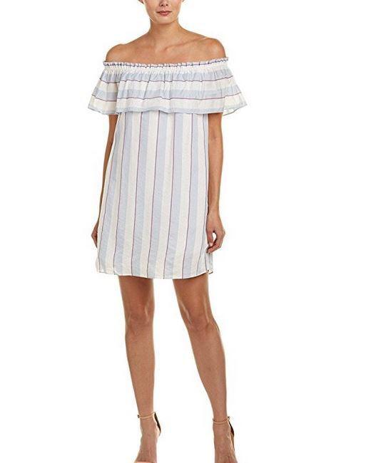 298 NWT Parker Womens Off-The-Shoulder A-Line White Stripes Dress sz  S