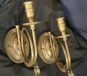Antique-Vtg-Pair-Candle-Wall-Sconces-Brass-Victorian-Art-Deco-Colonial-Repro-Set