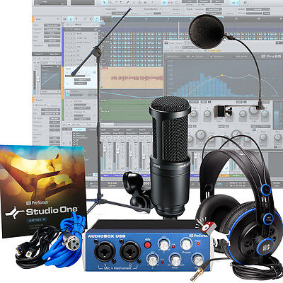 presonus audiobox at2020 pop filter mic stand home recording studio bundle 791043403827 ebay. Black Bedroom Furniture Sets. Home Design Ideas