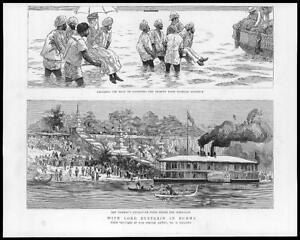 1886-Antique-Print-INDIA-Burma-Natives-Viceroy-Villiers-Diamond-Harbour-74