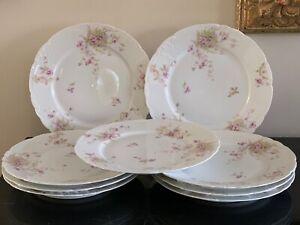 Antique Theodore Haviland Limoges Set of 9 Dinner Plates