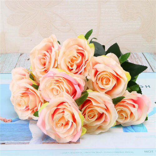 10Heads Silk Rose Artificial Flowers Bunch in vase Bouquet Wedding Home Party UK