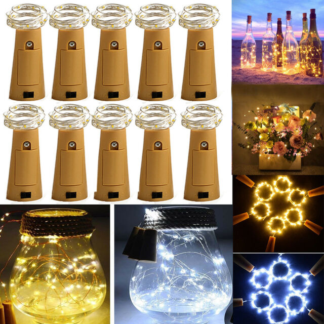 1//2//3x Cork Shaped 15 LED Night Light Starry Light Wine Bottle Lamp For Party Dw