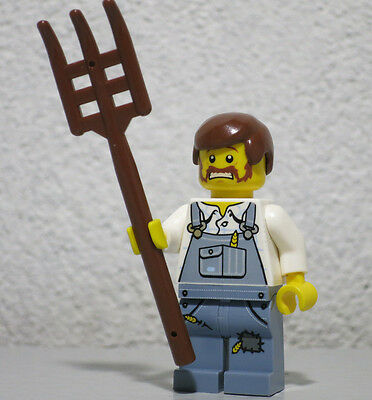 Lego Mini Figure Alien Conquest City Farmer with Pitchfork from Set 7052