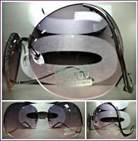 Oversized Vintage Style Sun Glasses Upside Down Gunmetal Frame Smoke & Pink Lens