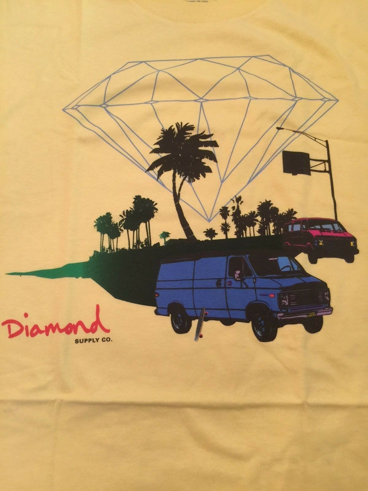 Diamond Supply Co. Cruisin Tee s s Pina Colada (Yellow) Large - Circa 2008 RARE