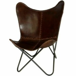 BROWN-HANDMADE-VINTAGE-COWHIDE-LEATHER-BUTTERFLY-CHAIR-COVER-ONLY-COVER