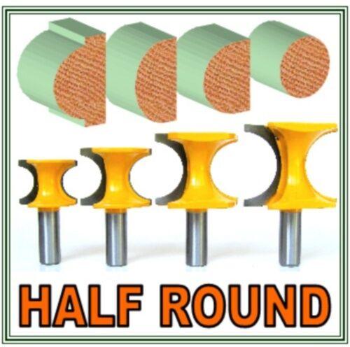 4pc 1/2 SH Radius 3/4, 5/8, 1/2, 3/8 Half Round Bullnose Router Bit Set sct-888