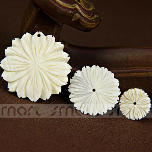 1pc Blanc Naturel pivoine forme Shell LOOSE BEADS for craft Jewelry Making À faire soi-même