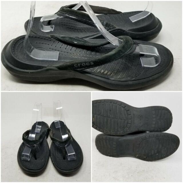 Crocs Black Slip On Low Top Flip Flop Flat Thong Sandals Slides Women's Size 9