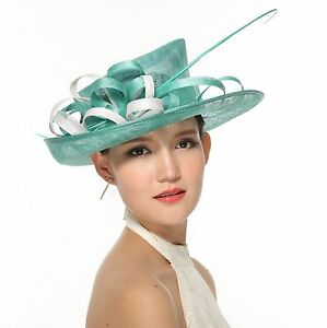 Stunning Sinamay Hat with Contrast Trim and Biot Feathers,Turquoise with White