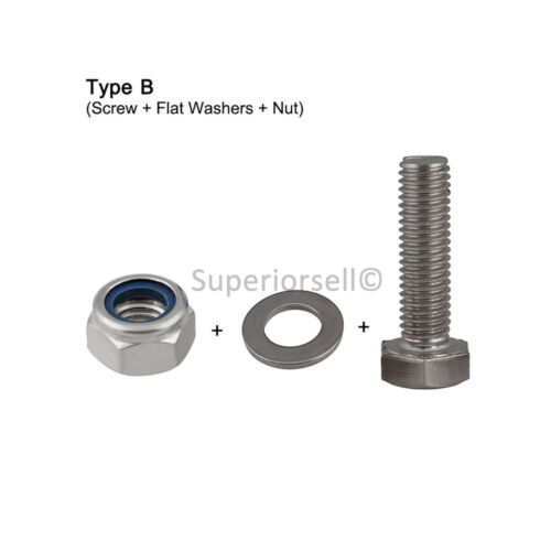 M3*8-30 Hexagon Head Screw Hex Bolt+Nyloc Nut+Flat/&Spring Washer Kit Match A4SS