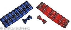 Stewart-Tartan-Cummerbund-amp-Bow-Tie-Robert-Burns-Night-Scotland-Fancy-Dress-lot