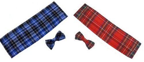 Stewart Tartan Cummerbund /& Bow Tie Robert Burns Night Scotland Fancy Dress lot
