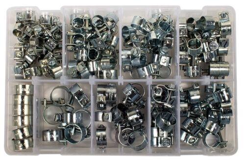 116 pièces Zinc Plaqué Mini Colliers de serrage Boîte Assortiment