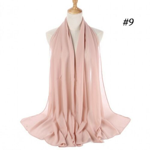Elegant Chiffon Scarf Hijab Shawl Wrap Women Soft Scarves Headband Muslim Hijabs